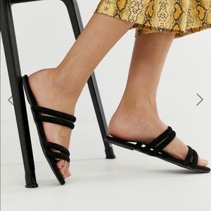 Asos Black Suede Strappy Flat Sandals
